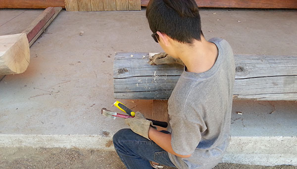 boys in residential treatment woodworking